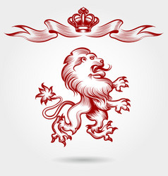 Red engraving lion and crown sketch vector