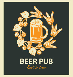 Emblem for beer pub with beer glass and wreath vector