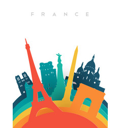 Travel france 3d paper cut world landmarks vector