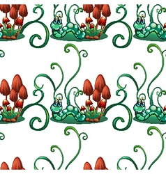 A seamless design with worms in a garden vector