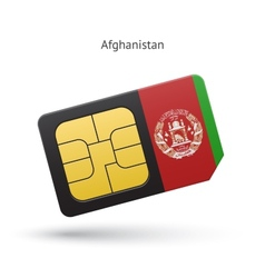 Afghanistan mobile phone sim card with flag vector