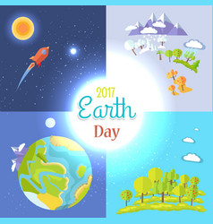 2017 earth day posters set traveling to moon vector