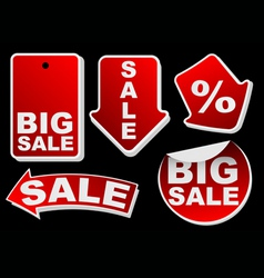 Collection of various red isolated sale tags vector