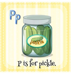 Flashcard letter p is for pickle vector