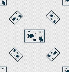 Aquarium fish in water icon sign seamless pattern vector