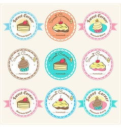 Sweet bakery badge label and logo vector