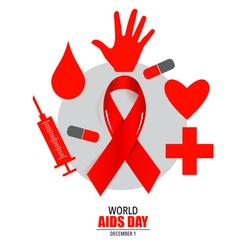 Aids awareness red heart ribbon on white vector