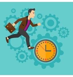 Running man on clock background vector image