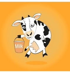Smiling cow gives milk bucket vector