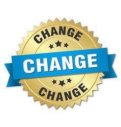 Change 3d gold badge with blue ribbon vector