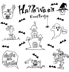 Element halloween castle bat and ghost dooodle vector