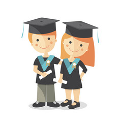 A boy and a girl at the graduation vector