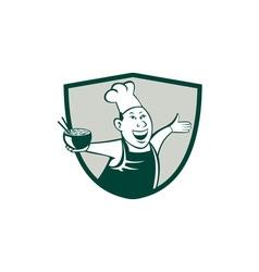 Asian Chef Serving Noodle Bowl Dancing Crest vector image