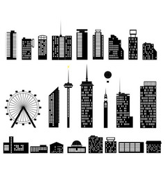 Big city set elements building vector