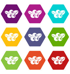 blueberries icon set color hexahedron vector image vector image