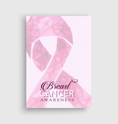 Breast cancer awareness pink low poly bow poster vector