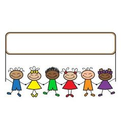cartoon kids with banner vector image vector image