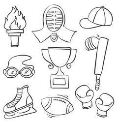 collection of sport equipment hand draw doodles vector image vector image