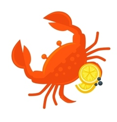 Crab with lemon fresh seafood vector