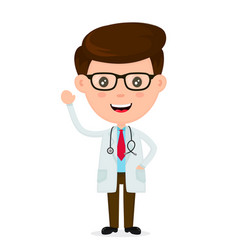 cute funny smiling doctorhealthcare vector image