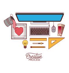 Desktop computer top view creative process with vector