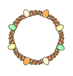 Easter circle frame vector
