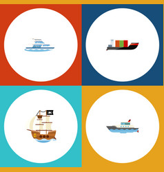 flat icon vessel set of sailboat boat vessel and vector image vector image
