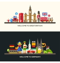 Germany great britain travel banners set with vector