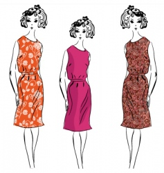 girl floral dresses vector image