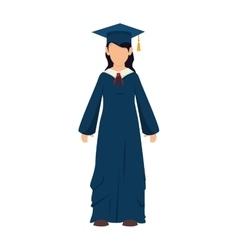 Girl graduate gown vector