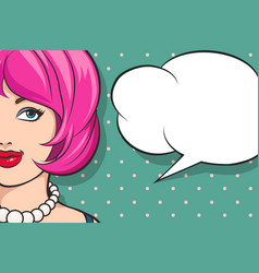 girl with the speech bubble in retro style vector image vector image