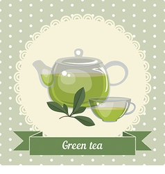 Glass teapot and cup with green tea vector image