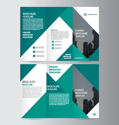 Green business trifold Leaflet Brochure Flyer set vector image vector image