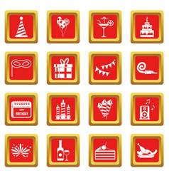 Happy birthday icons set red vector
