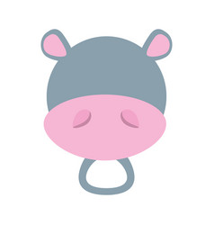head cute hippo animal image vector image vector image