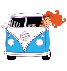 Hippie girl riding vintage blue van cartoon vector