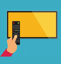 Human hand with black remote tv control flat vector
