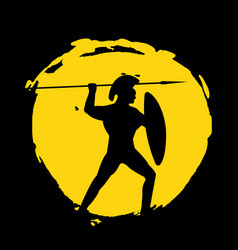 Legionnaire warrior silhouette on black background vector