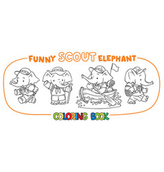 Little baby elephant scout coloring book set vector
