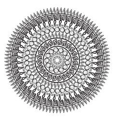 Mandala contour for book coloring vector