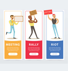meeting rally riot banners set people holding vector image