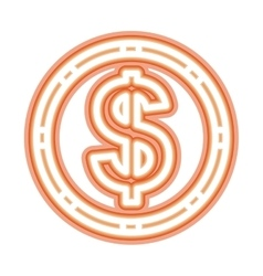 Neon money symbol icon vector