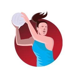 netball player passing ball retro vector image vector image