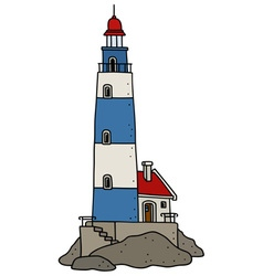 Old blue lighthouse vector
