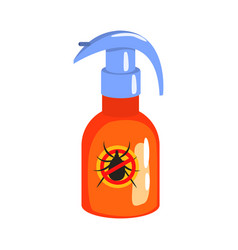 Orange sprayer bottle of mite or tick insecticide vector