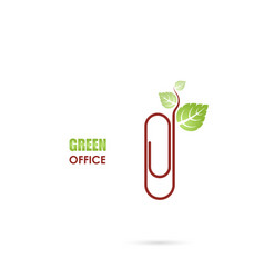 Paper clip sign and green leafs icon logo design vector