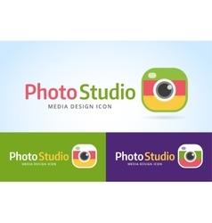 Photo camera icon template photographer logo vector
