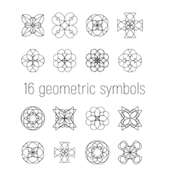 set of 16 linear geometric symbols vector image vector image