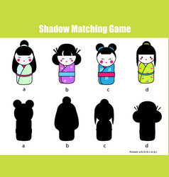 Shadow matching game find the right shadow vector