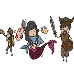 Vikings and mermaid vector